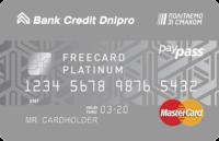 Банк Кредит Днепр — Карта «Freecard Platinum» MasterCard Platinum мультивалютная